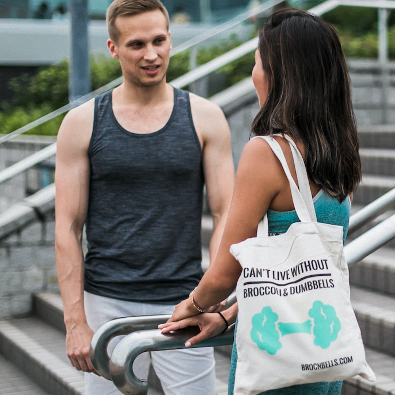 brocnbells reusable gym tote bag